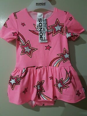 ~Girl Size 1~Bonds Ballet Suit~Pink Star~New With Tags~Gorgeous!