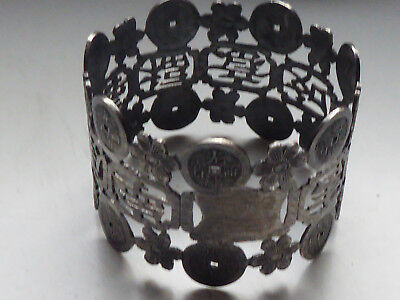 China export solid silver SF served ring flower Relief