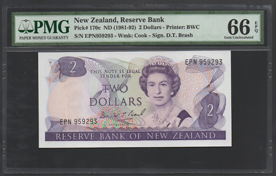 New Zealand Pick 170c 1981-92 2 Dollars Gem Uncirculated PMG 66