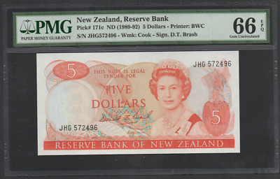 New Zealand Pick 171c 1989-92 5 Dollars Gem Uncirculated PMG 66