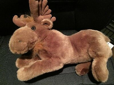 """Cascade Toy Co  Brown Plush Moose with Antlers  14"""" long  Collectible"""