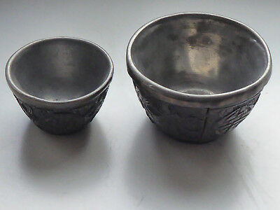 China export silver 2 small bowl inside solid silver outside carved wood relief