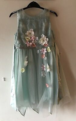 Girls Age 9 Gorgeous Pale Blue Sparkly Monsoon Dress With Matching Hair Clips