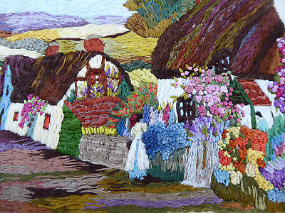 Vintage Hand Embroidered Picture Panel -  English Village Cottages & Gardens