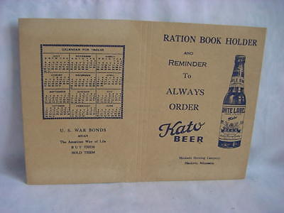 Kato Beer Mankato Brewing Company Ration Book Holder Ww Ii