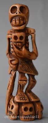 Exquisite Chinese Old Cow Bone Hand Carved Human Skeleton Statue Decoration