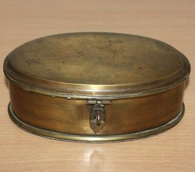 1920's Old Antique Beautiful Handmade Oval Shaped Brass Box #422