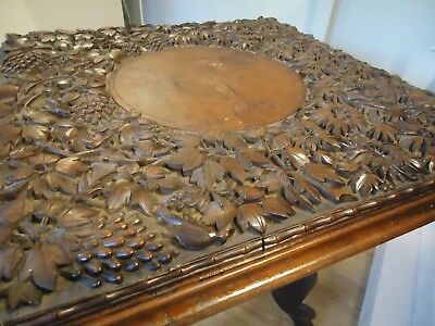 Heavily Carved Padouk Wood Anglo Indian Table