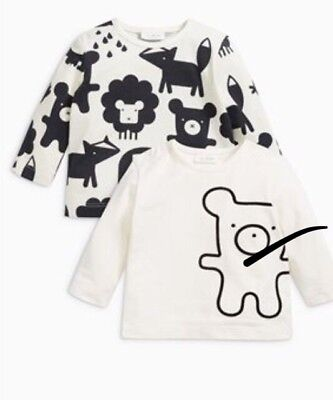 Brand New Next Boys / Girls / Unisex Pack Of 2 T Shirts / Tops 0-3 Months Upto 3