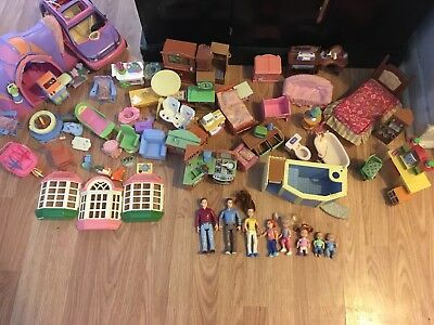 Huge lot of fisher price loving family dollhouse furniture, people, camping