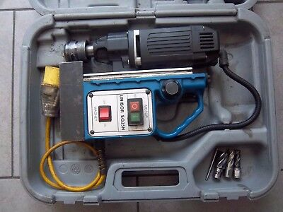 magnetic drill unibor eq35n 110v mag drill with used cutters,rotabroach,powerbor