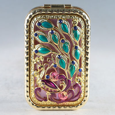 Exquisite Chinese Cloisonne Handmade Peacock Mirror JZ2033