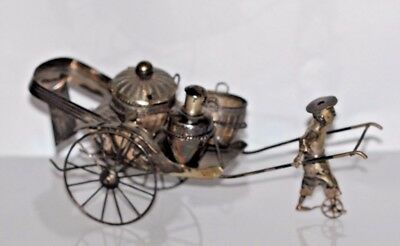 A Large Antique Qing Chinese Export Silver Rickshaw Condiment Set Hallmarked