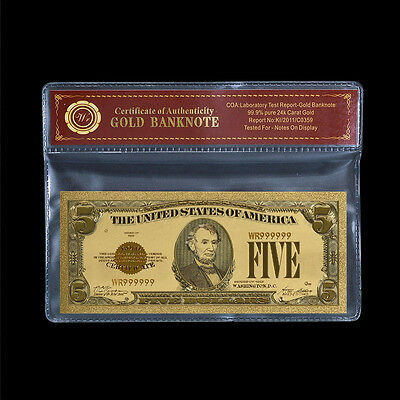 WR 1928 Gold Colorized $5 Dollar Bill US Banknote Novelty Decor In Sleeve