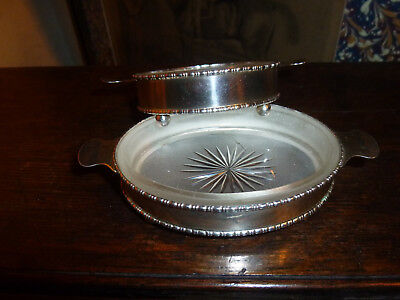 Two similar Sterling silver butter dishes with glass liners Chester 1919 1920
