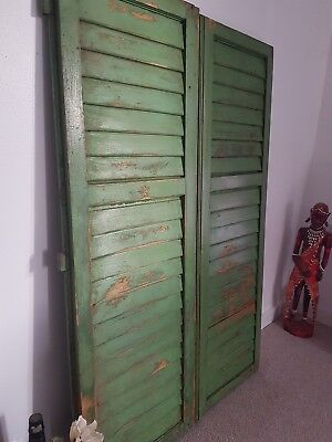Large  VINTAGE WOODEN European window shutters shabby chic rustic (pair)