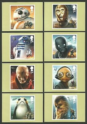 Gb 2017 Star Wars Chewbacca Porg Space Films Phq Postcards Set Mnh