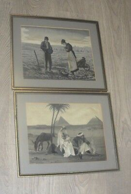 Antique French Neyret Freres Silk Woven Pictures x 2