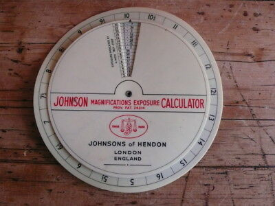 Antique Johnson Magnifications Calculator for Darkroom Use