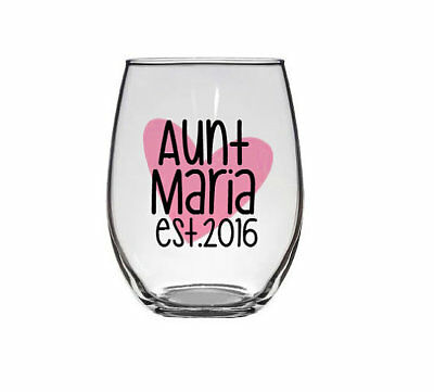 Aunt's Personalized Glass, Future Aunt, Baby Announcement, Aunt Gift