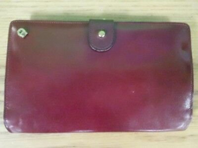 Etienne Aigner Vintage Wallet Burgundy Passport Kiss Closure Italy