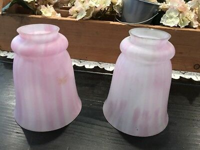 Pair Vintage Frosted Pink Glass Art Deco Lamp Light Shades