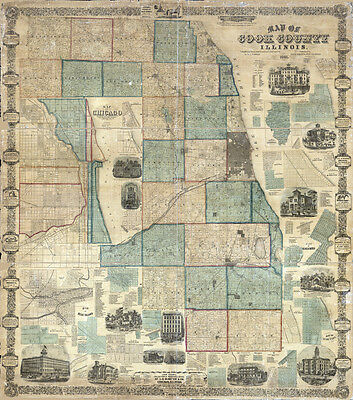 1861 Map of Cook County Illinois