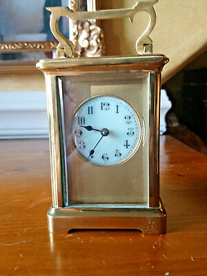 Antique French Art Nouveau Brass Carriage Clock
