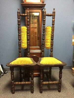 2 Vintage Narrow High Back Jacobean Style Mexico Hall Chair Prayer Chairs