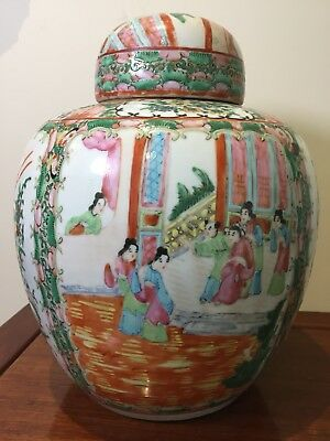 Large Antique Chinese Canton Ginger Jar With Cover