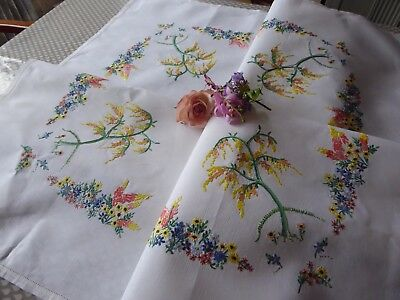 Vintage Embroidered Linen Tablecloth=Exquisite Raised Floral Embroidered Gardens