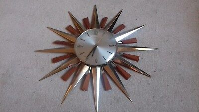 Vintage Star Shaped Metamec Clock Gold And Wood