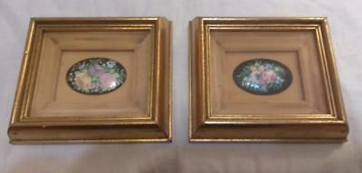 Pair of Two Old Vintage Antique Miniature Art Oil Paintings Floral Flowers Frame