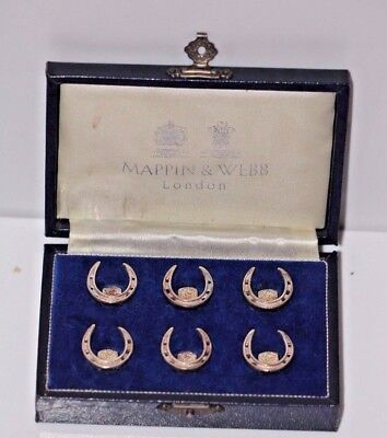 A Rare Mappin & Webb Set Of 6 Hm Silver Place Card Menu Holders Lucky Horseshoes