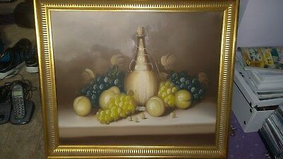 Charming  Oil Painting on Canvas  still life of fruit signed Gold Gilt Frame