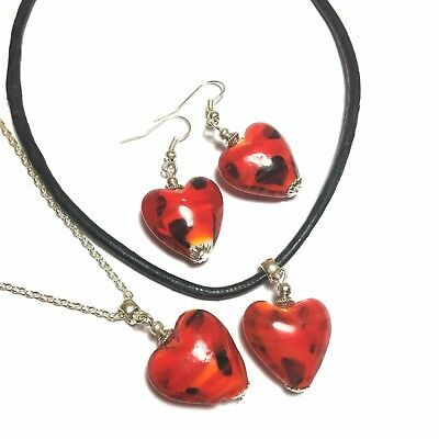 Silver Heart Necklace and Earring Set, Leather Choker, Studs, Clip-On, or Hooks