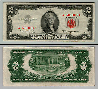 1953B $2 Dollar Bill  Us Note Legal Tender Paper Money Currency Red Seal J315