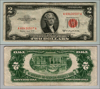1953B $2 Dollar Bill  Us Note Legal Tender Paper Money Currency Red Seal J318