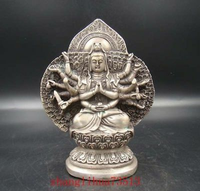 Collectibles Handmade Carving Statue Thousand-hand Kwan-yin Copper Silver