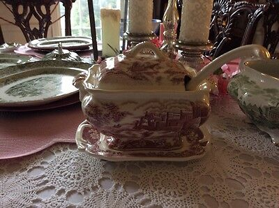 Antique Staffordshire Red and White Soup Tureen-Lovely!