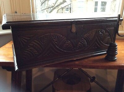 17Th Century Oak Desk/bible Box Lunette Carvings To Front Good Proportions...