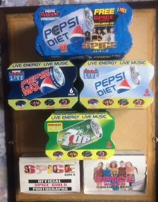 SPICE GIRLS / PEPSI / 7UP   OFFICIAL PHOTOS Original Vintage Promotional Boxes
