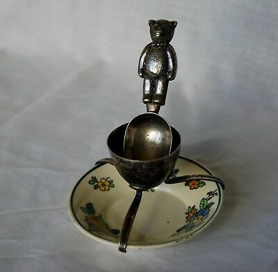 Vintage (1940s?) Silver Plate Egg Cup and Teddy Bear Spoon