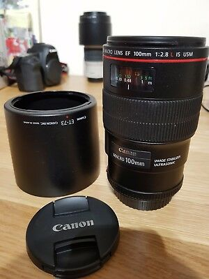 Used Canon 100 mm f/2.8L Macro Lens - with original lens hood