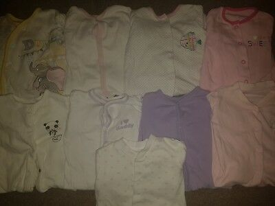 Baby girl clothes x9 large bundle sleepsuits age 0-3 months