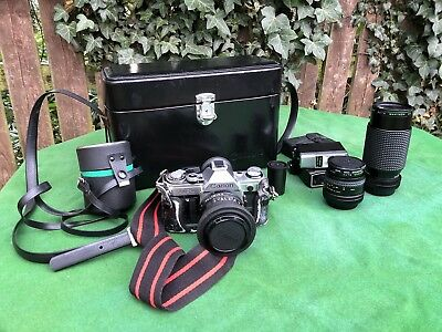 Vintage Canon AE 1 35mm Film Camera with Canon Case, Lens And Flash Etc