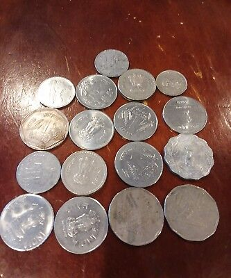 17 india Rupee Coins various dates and denominations