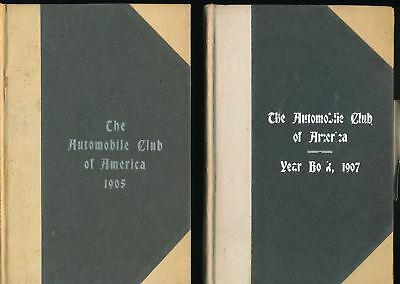 THE AUTOMOBILE CLUB OF AMERICA 1905 & 1907 Hardback Yearbooks