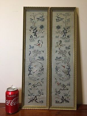 Pair Antique Chinese Silk Embroidered Panel
