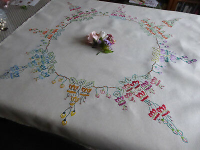 Vintage Hand Embroidered Linen Tablecloth= Beautiful Trailing Fuschias